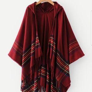Sweaters - Fringe Hem Striped Hooded Poncho Sweater